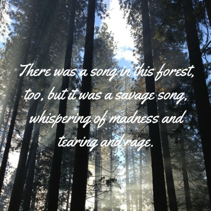 """There was a song in this forest, too, but it was a savage song, whispering of madness and tearing and rage."""